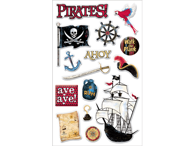 Pirates Gems Stickers Packaged-Pirate Words & Images