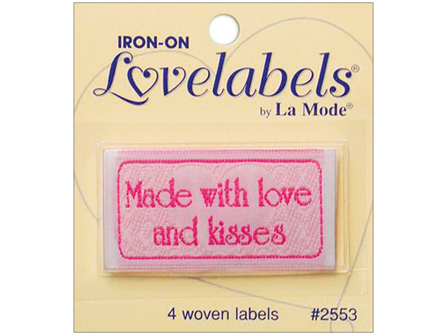 Iron-On Lovelabels 4/Pkg-Made With Love And Kisses