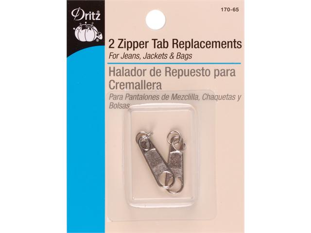 Zipper Tab Replacement 2/Pkg-Nickel