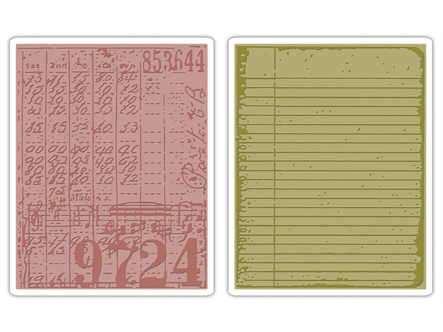 Sizzix Texture Fades Embossing Folders By Tim Holtz 2/Pkg-Collage & Notebook