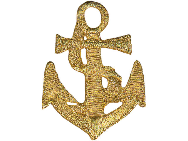 Wrights Iron-On Appliques-Gold Anchor 1-5/8