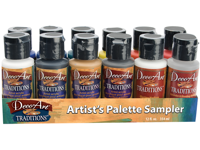 Deco Art Traditions Acrylic Palette Sampler 1 Ounce 12/Pkg-