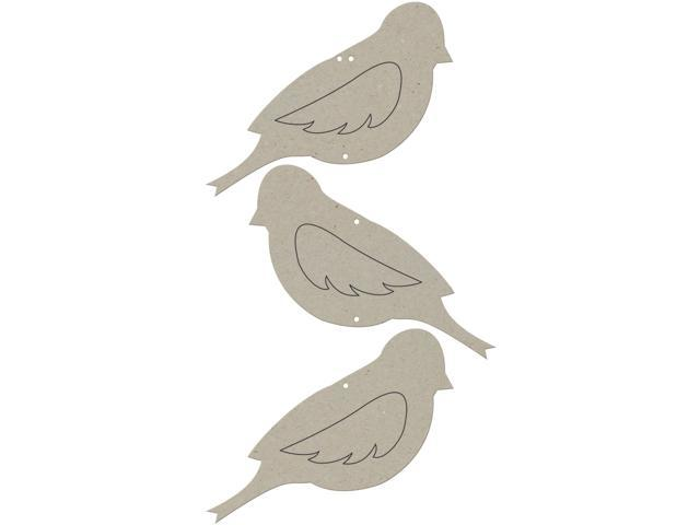 Die-Cut Grey Chipboard Embellishments-Bird Wallhanging
