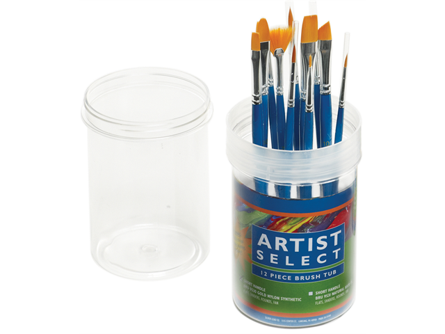 Artist Select Short Handle Assorted Brush Tub 12/Pkg-Gold Nylon