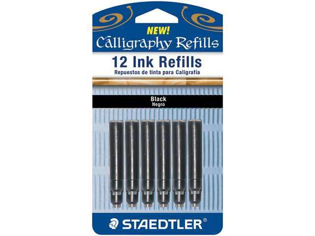Calligraphy Pen Ink Refills 12/Pkg-Black