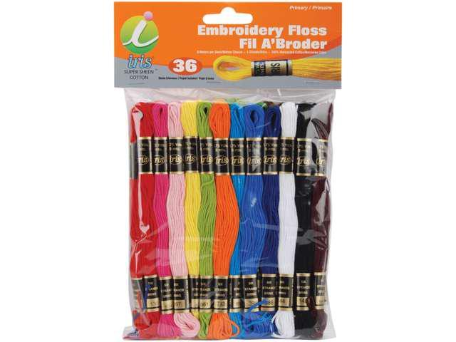 Embroidery Floss Pack 8 Meters 36/Pkg-Primary Colors
