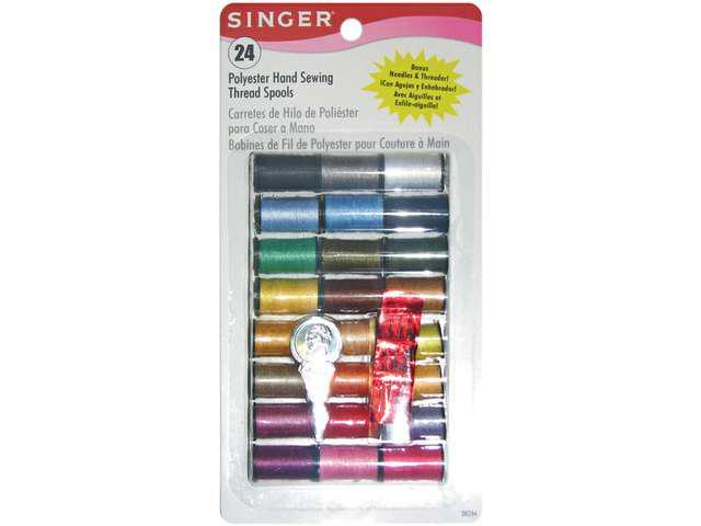 Polyester Thread 10 Yard Spools 24/Pkg-Assorted Colors