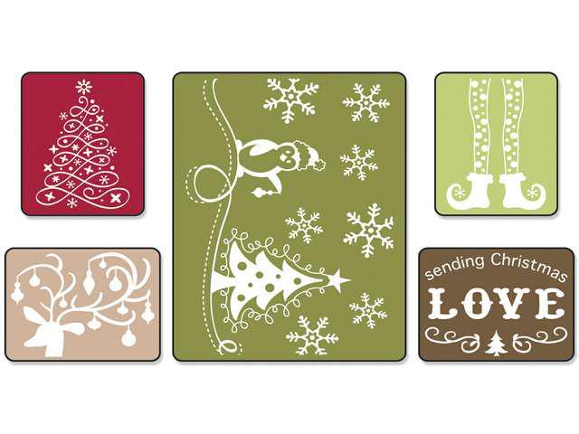 Sizzix Textured Impressions Embossing Folders 5/Pkg-Sending Christmas Love