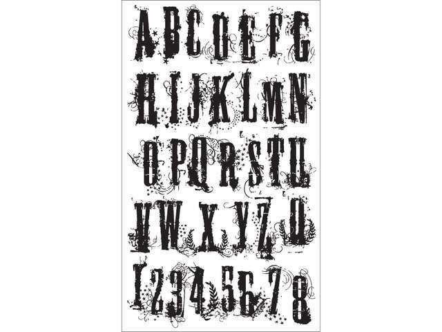 Tim Holtz Cling Rubber Stamp Set-Grudge Alphabet