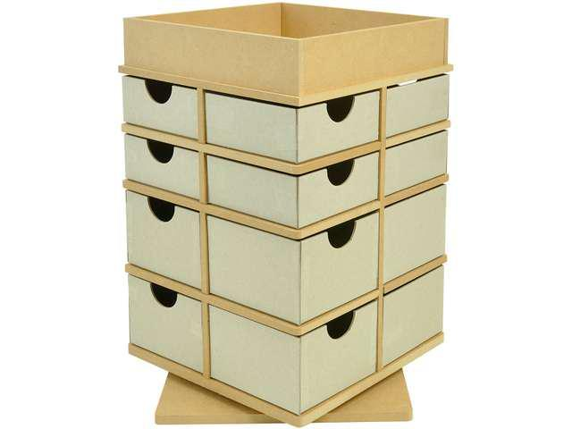 Beyond The Page MDF Turntable Drawers With Tray Top-12.75