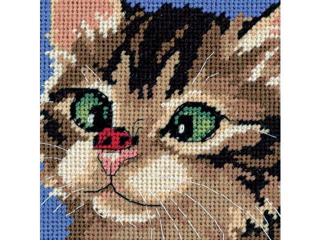 Cross-Eyed Kitty Mini Needlepoint Kit-5