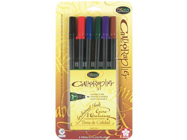 Pigma Calligrapher 6/Pkg-1mm Assorted Colors