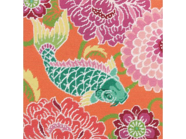 Koi With Flowers Needlepoint Kit-14