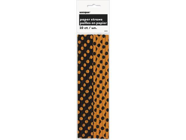 Paper Straws 10/Pkg-Orange & Black Decorative Dots