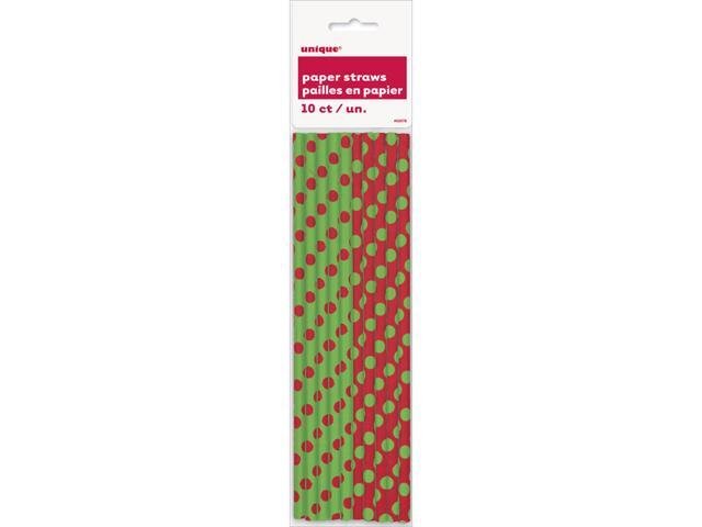 Paper Straws 10/Pkg-Red & Green Decorative Dots