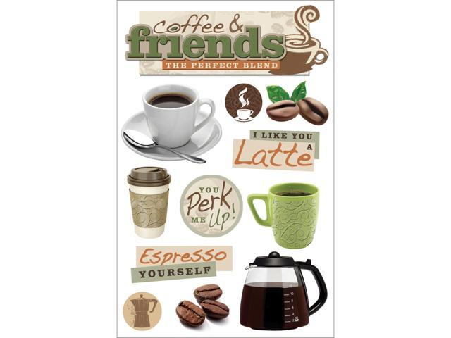 Paper House 3-D Sticker-Coffee Talk