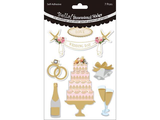 Bella! Wedding Glitter & Foil 3D Stickers-Cake Multi Color