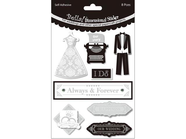 Bella! Wedding Glitter & Foil 3D Stickers-Always & Forever Black & White