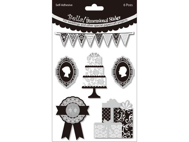 Bella! Wedding Glitter & Foil 3D Stickers-Cake Black & White