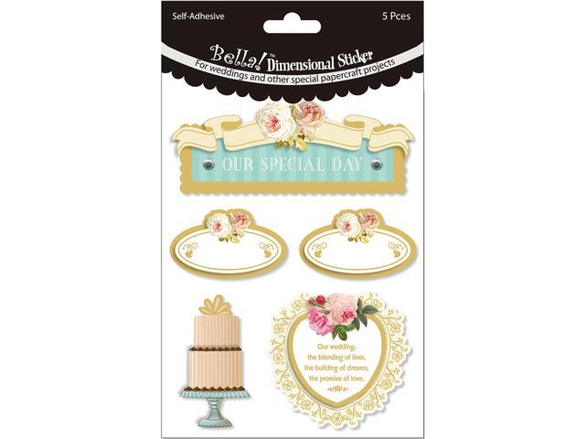 Bella! Wedding Glitter & Foil 3D Stickers-Our Special Day Multi Color