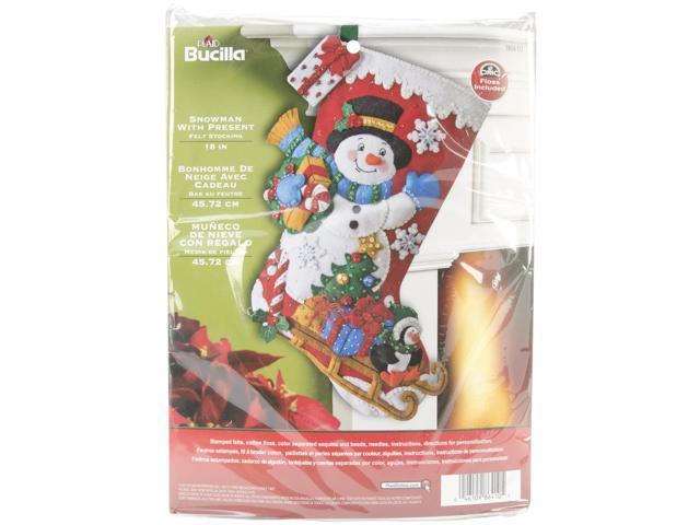 Snowman W/Present Stocking Felt Applqiue Kit-18