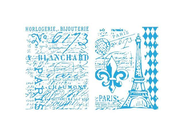 Sizzix Texture Fades Embossing Folders By Tim Holtz 2/Pkg-Eiffel Tower & French Script