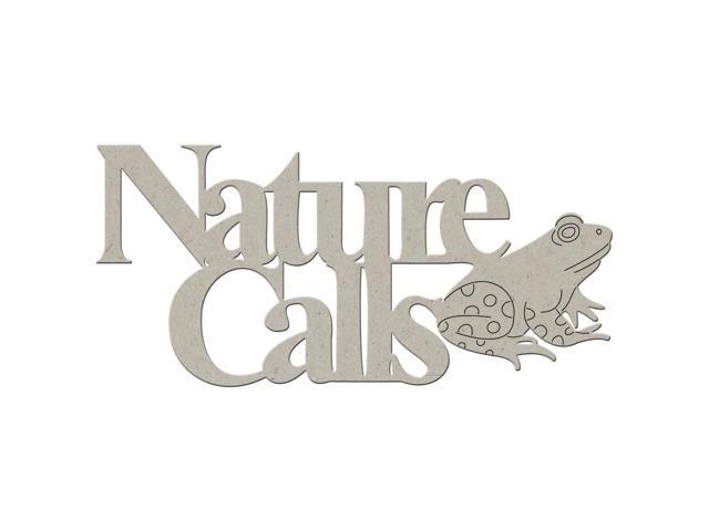 Die-Cut Grey Chipboard Word-Nature Calls