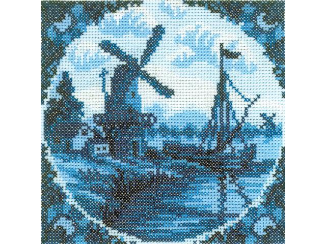 Antique Dutch Tiles Windmill II Counted Cross Stitch Kit-4-1/4