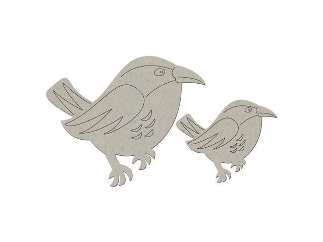 Die-Cut Grey Chipboard Embellishments-Bird 2/Pkg