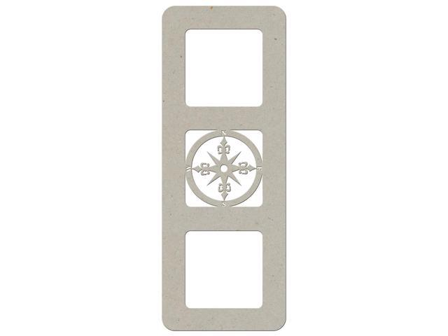 Die-Cut Grey Chipboard Embellishments-2 Frames With Compass
