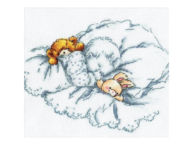 Baby W/Rabbit & Teddy Bear II Counted Cross Stitch Kit-8