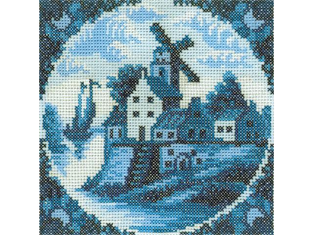 Antique Dutch Tiles Windmill I Counted Cross Stitch Kit-4-1/4