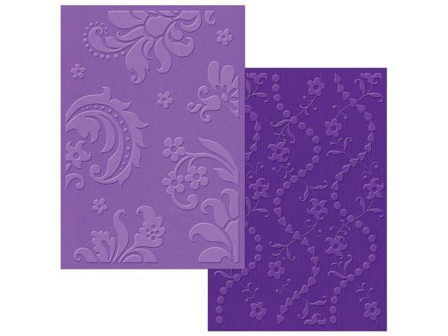 Sizzix Textured Impressions Embossing Folders 2/Pkg-Damask & Beaded Floral Stripe