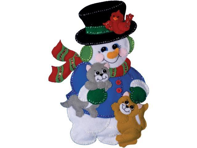 Snowman With Cats Wall Hanging Felt Applique Kit-13