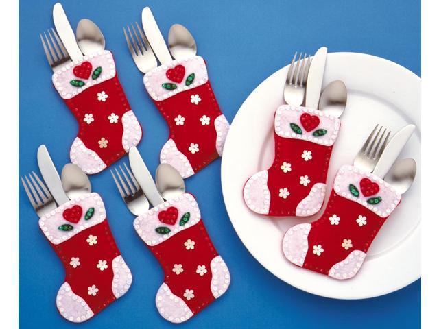 Christmas Stocking Silverware Pockets Felt Applique Kit-4