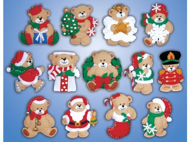Lots Of Bears Ornaments Felt Applique Kit-3
