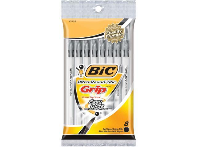 Bic Ultra Round Stic Grip Ball Pens Medium Point 8/Pkg-Black