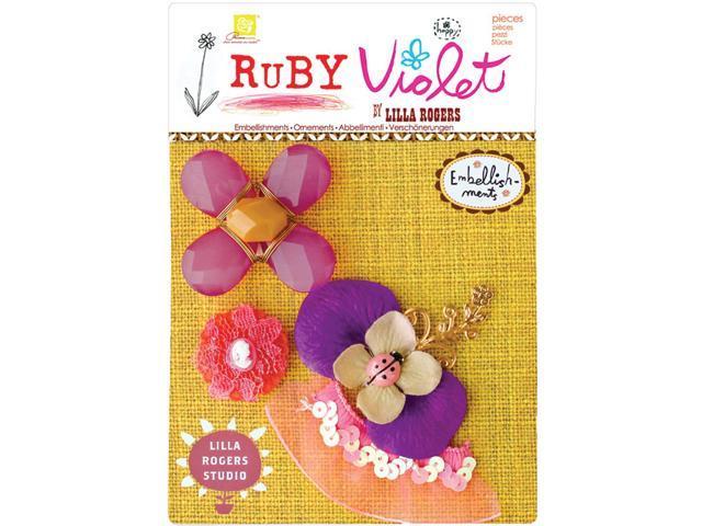 Ruby Violet Floral Embellishments-4/Pkg
