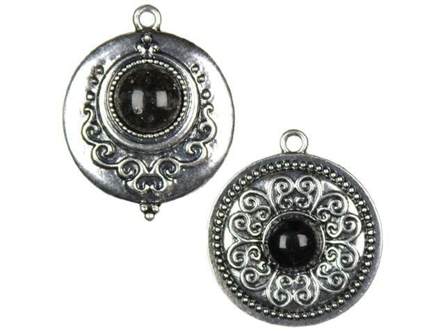 Jewelry Basics Metal Accents 2/Pkg-Silver/Black Round Cab