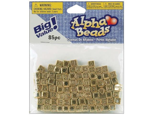 Alphabet Beads 6mm 85/Pkg-Gold Plated
