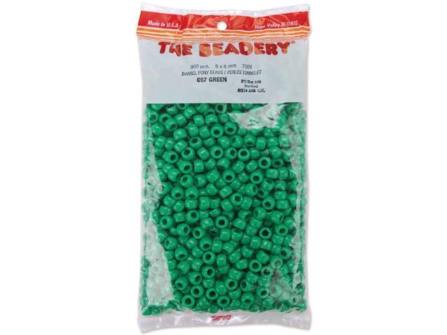 Pony Beads 6mmX9mm 900/Pkg-Opaque Green