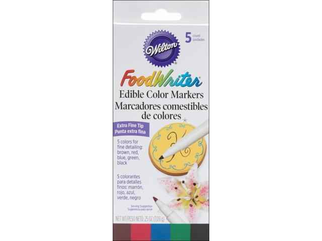 Food Writer Extra-Fine Tip Edible Color Markers .25oz 5/Pkg