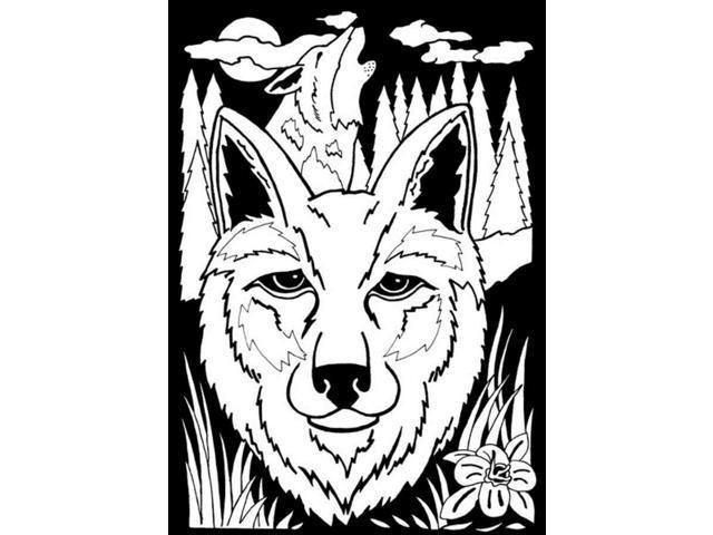 "Color-In Velvet Poster 6""X9""-Wolf"
