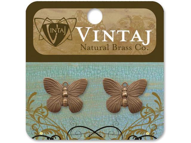 Vintaj Metal Charms 2/Pkg-Butterfly 19x15mm