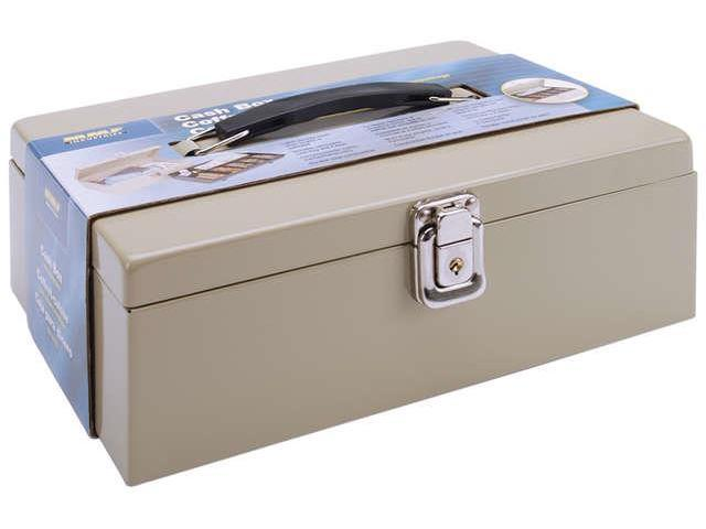 Heavy-Duty Steel Cash Box w/7 Compartments Latch Lock Sand