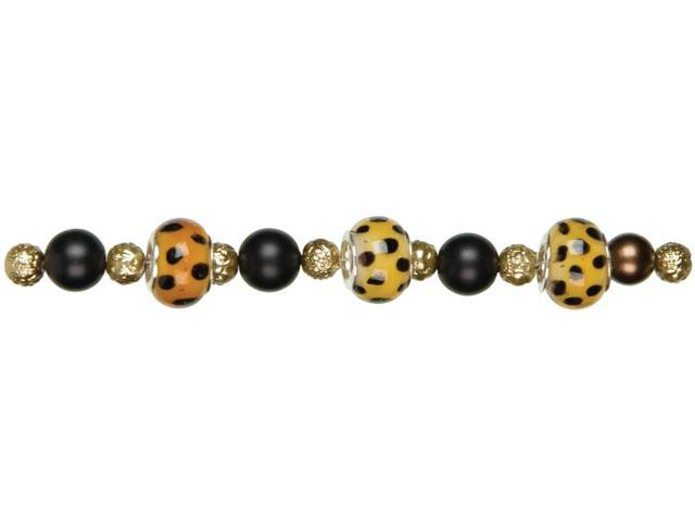 Jewelry Basics Large Hole Glass Bead Mix 18/Pkg-Black/Brown
