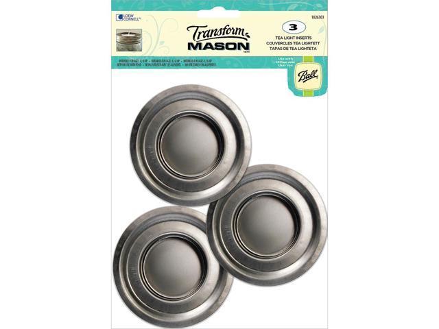Transform Mason Lid Inserts 3/Pkg-Silver Tea Light