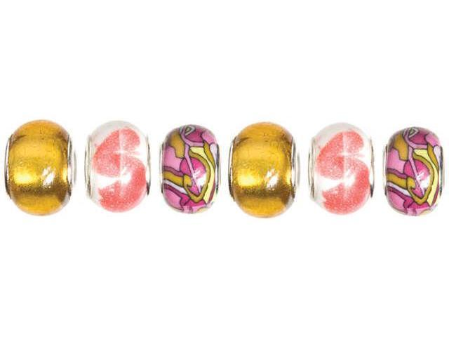 Trinkettes Glass & Metal & Clay Beads 6/Pkg-Pink & Yellow Print