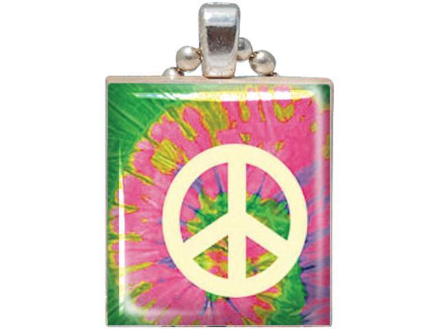 Game Tile Pendant 1/Pkg-Peace Sign Tie Dye