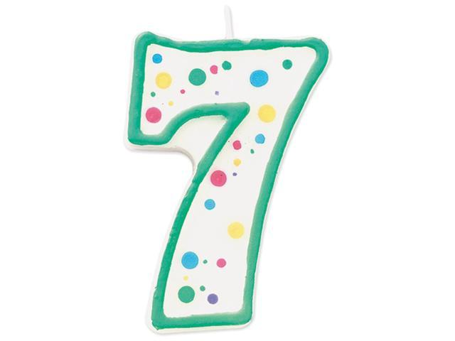 """Polka Dot Numeral Candle 3""""X1.5"""" 1/Pkg-#7 Green"""
